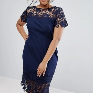 Paper Dolls Lace Navy Cocktail Knee Length Dress